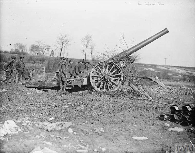 IWM Q 8563 6 inch Mark VII gun, Metz en Couture, 9 March 1918