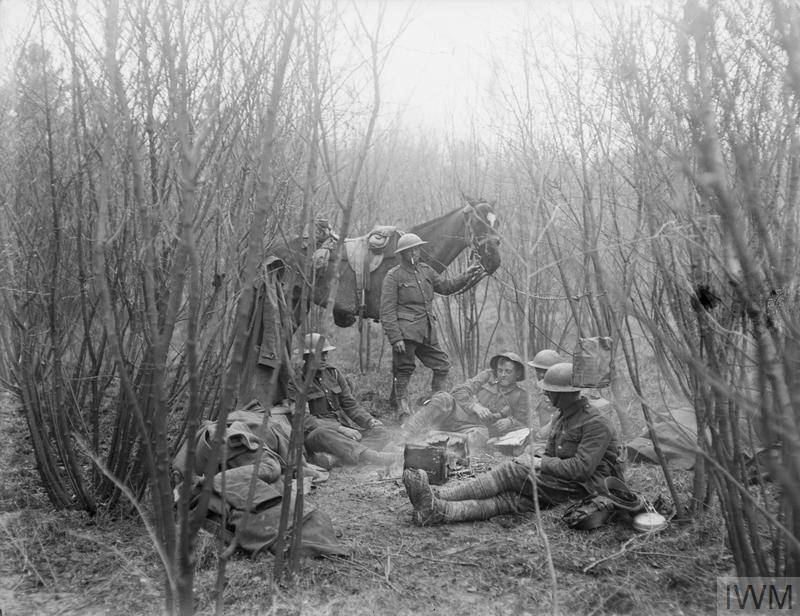 IWM Q 10863 Artillerymen resting near Boues, 5 April 1918