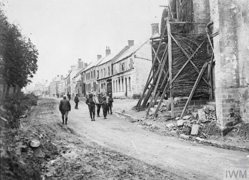 IWM Q 61329 British troops in the Rue de l'Eglise (Church Street) at Mailly-Maillet, 20 April 1918