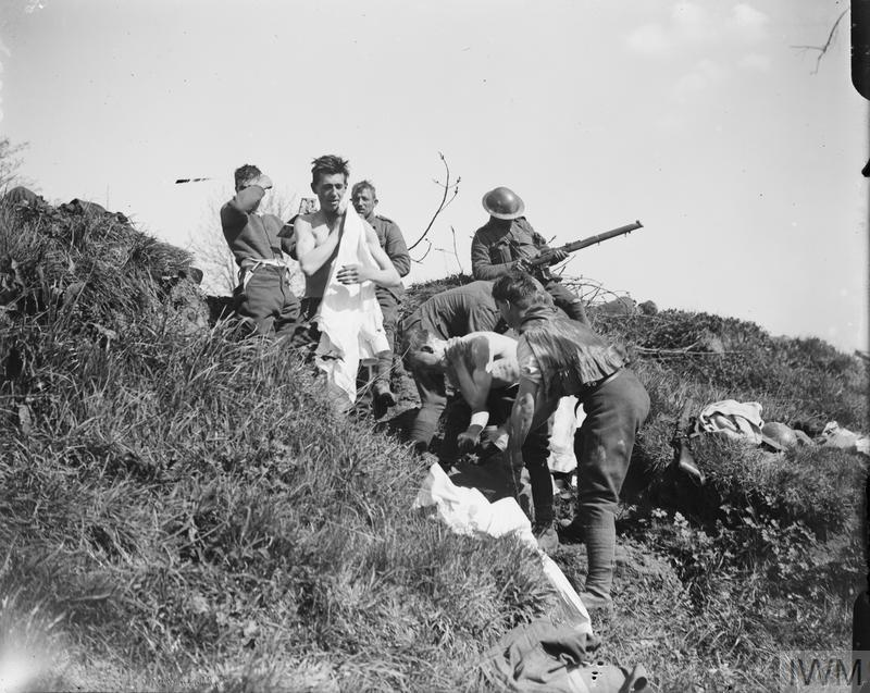 IWM (Q 6510) Troops washing at Robecq, 12 April 1918