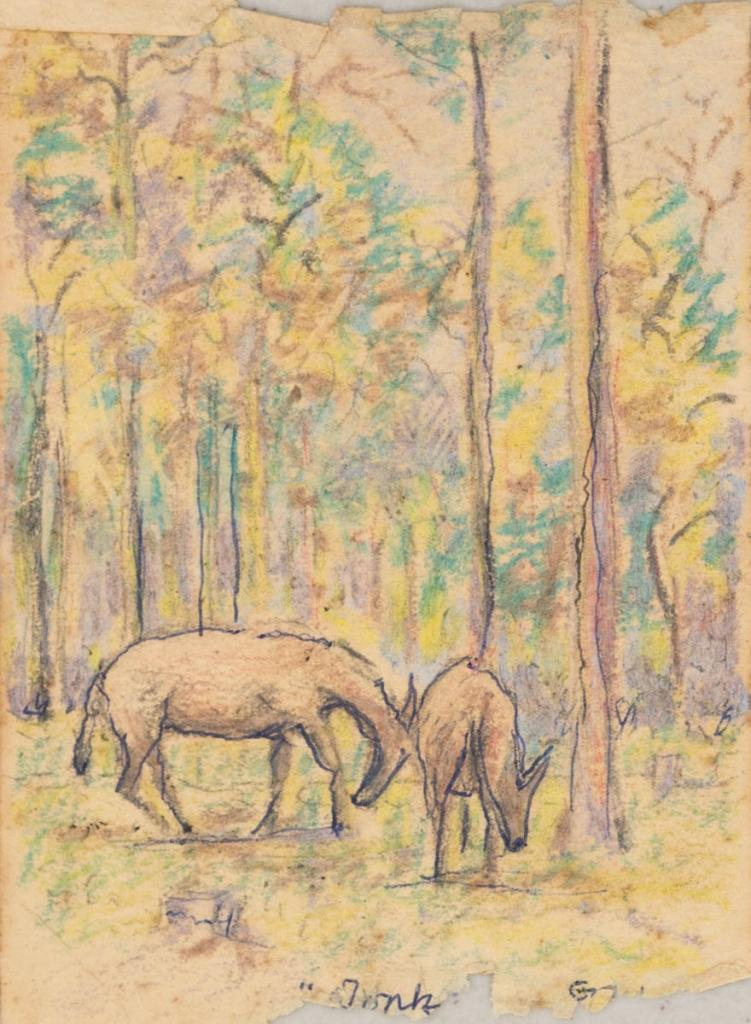 Lincoln Lee, Donks in Crayon, c1918