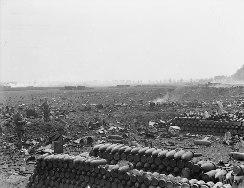 IWM (Q 11472) Destruction caused by explosion of British ammunition dump Wardrecques, 19 May 1918