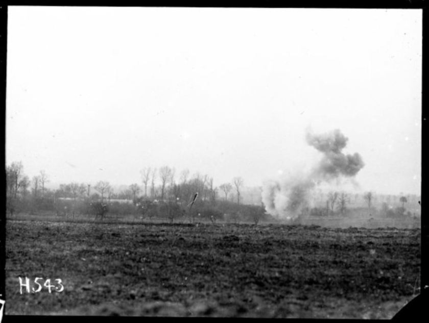 nzlimage 1-4 009514-G exploding 5.9 shell causes a large cloud, NZ reserve line near Courcelles, 4 May 1918