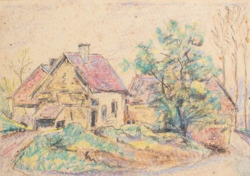 Lincoln Lee, Unidentified Farm, crayon, 1918