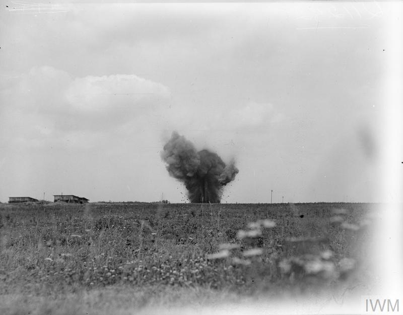 IWM (Q 11252) German shell-burst, near Grevillers on NZ Division front, 25 Aug 1918