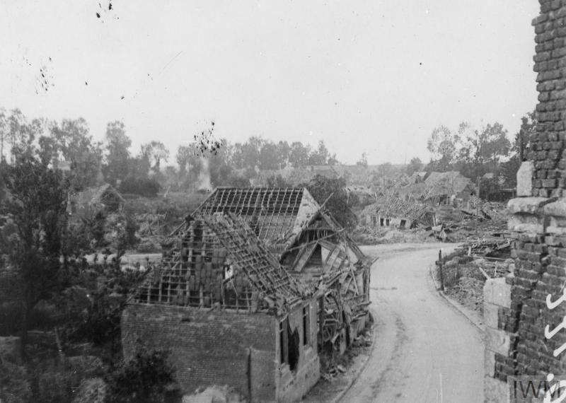 IWM (Q 61212) Ruined street looking from church, Grevillers, 3 July 1917