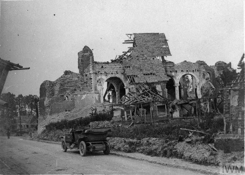IWM (Q 78484) Ruins of the church at Grevillers, 3 July 1917