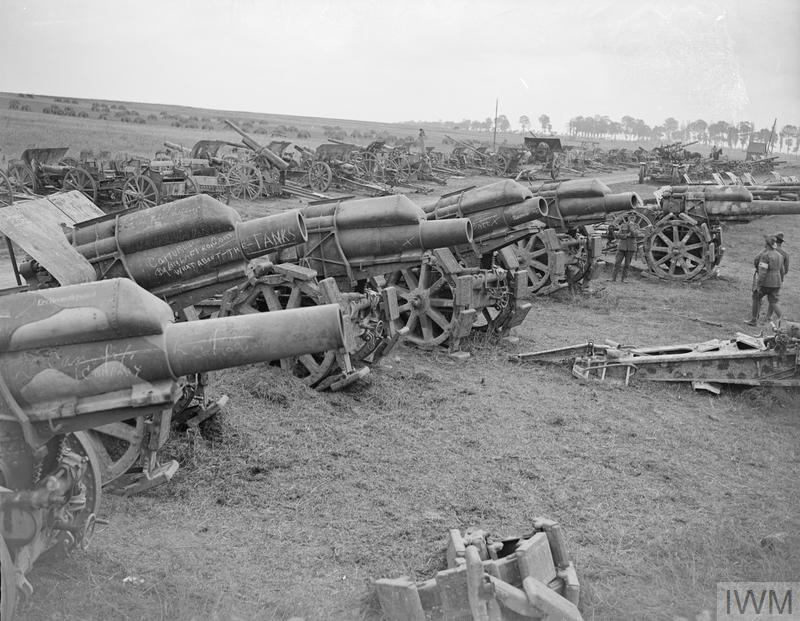 IWM (Q 9269) Dump of captured German guns, Amiens, 27 Aug 1918