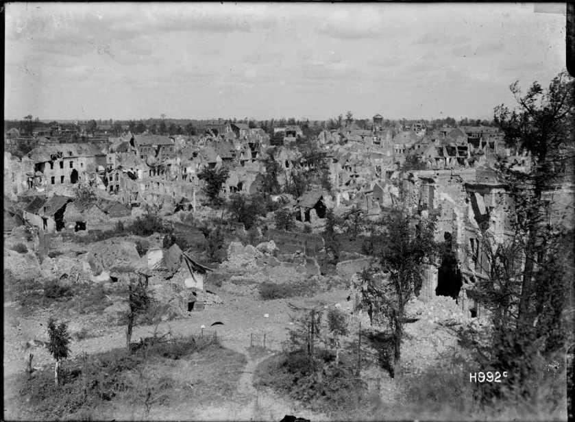 nlnzimage 1-2 013561-G view of Bapaume from Citadel after capture by NZers, 30 Aug 1918