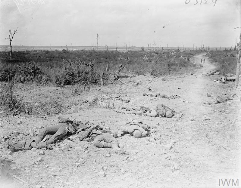 IWM (Q 7044) 2nd Battle of Bapaume, dead German soldiers in sunken lane, 6 Sep 1918