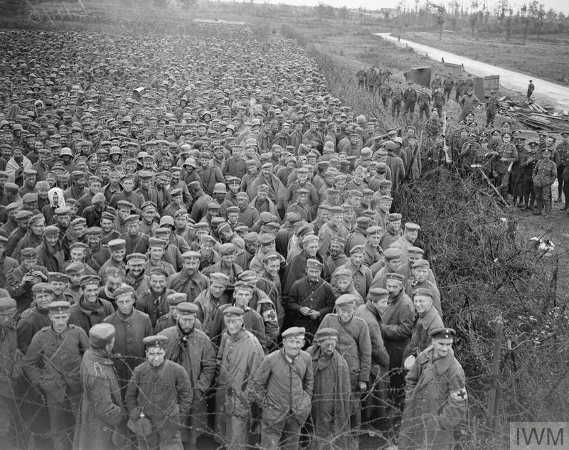 IWM (Q 9343) Prisoners captured in Battle of Canal du Nord, near Bapaume, 28 Sep 1918