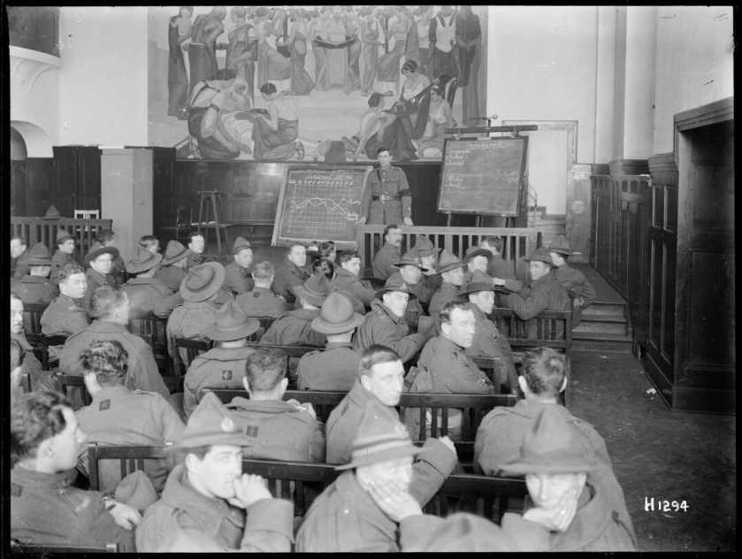 nlnzimage 1-1 002111-G NZ soldiers in classroom, Mulheim, Germany, cMar 1919