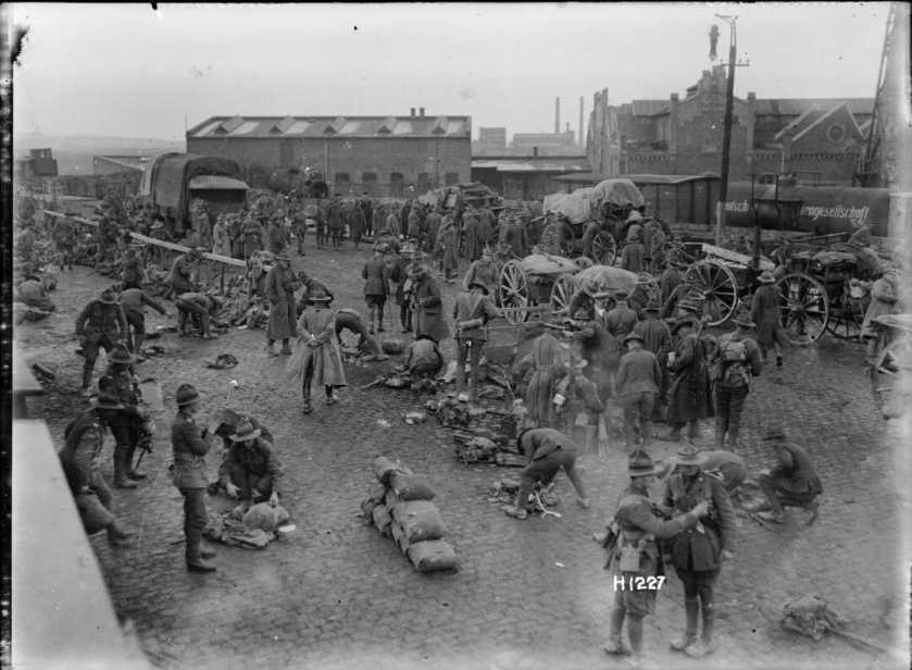 nlnzimage 1-2 013774-G NZ troops at Ehrenfeld Station, Cologne, cDec 1918